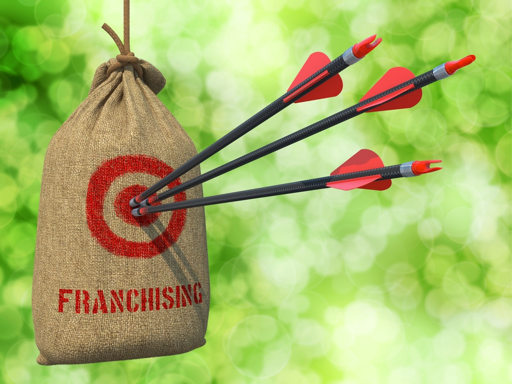 Franchising - Three Arrows Hit in Red Target on a Hanging Sack on Green Bokeh Background.